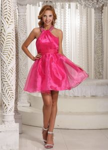 Euskirchen Germany Mini-length Halter Hot Pink Beading Homecoming Dress