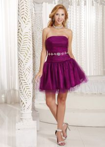 Purple A-line Beading Strapless Homecoming Dress in Esslingen Germany