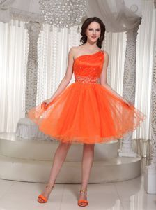 One Shoulder Orange Beading Ruches Homecoming Dress in Eschborn Germany