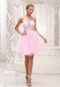 Mini-length Beaded Baby Pink Strapless Homecoming Dress in Eching Germany