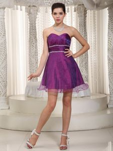 Purple A-line Sweetheart Mini-length Beading and Ruches Homecoming Dress