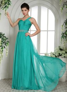 Dieburg Germany Ruched and Beaded Turquoise One Shoulder Homecoming Dress