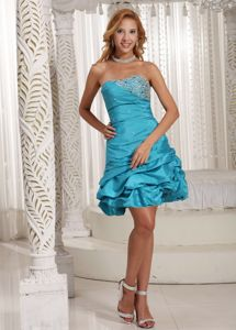 Beading Pick-ups Blue Strapless Homecoming Dress For Junior in Turquoise