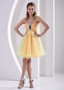 Colorful Beaded and Ruched Straps A-line Homecoming Dress with Keyhole