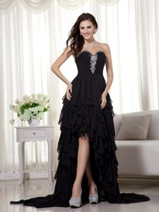 High-low Black Sweetheart Beading and Ruffled Layers Homecoming Dresses
