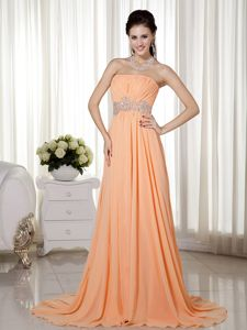 Bautzen Germany Light Orange Strapless Beading Ruches Homecoming Dress