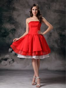 Simple Knee-length Red A-line Strapless Homecoming Dress in Alzey Germany