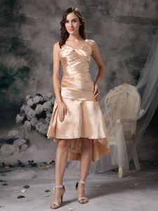 Altensteig Germany High-low Champagne Sweetheart Ruches Homecoming Dress