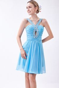 Baby Blue V-neck Beading and Ruches Homecoming Dress in Aichtal Germany