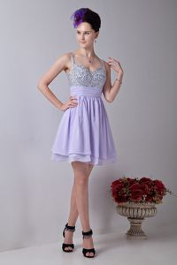 Aalen Germany Lilac Straps Mini-length Beading Homecoming Dress For Prom