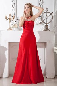 Red A-line Strapless Floor-length Homecoming Dresses on Sale