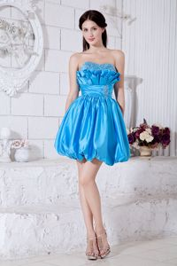 Aqua Blue Beading Ruffled Strapless Short Homecoming Dresses