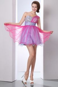 One Shoulder Beading Homecoming Dress Mini-length in Hot Pink