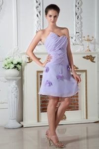 Lilac Sweetheart Homecoming Dress Knee-length with Hand Made Flowers