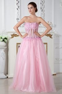 Strapless Appliques Baby Pink Vintage Homecoming Dresses