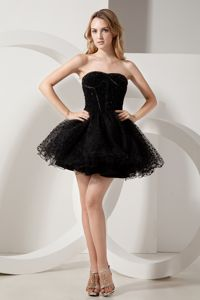 Black Strapless Beading Puffy Homecoming Dresses Mini-length