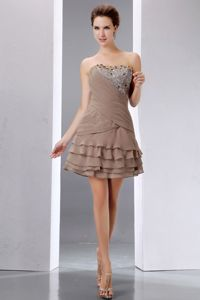 Layered Short Brown Homecoming Dress Strapless Mini-length Beaded