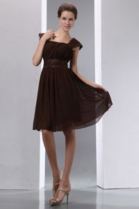 Square Brown Homecoming Dress with Cap Sleeves Beading Belt