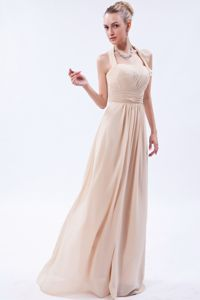 Empire Halter Floor-length Plus Size Homecoming Dresses in Champagne