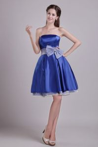 Strapless Short Blue Homecoming Dance Dresses with Bowknot