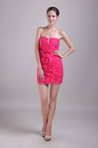 Sheath Strapless Hot Pink Mini-length Tight Homecoming Dresses