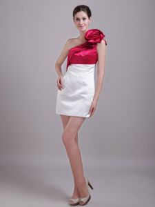 White and Wine Red One Shoulder Short Homecoming Dresses