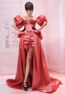 Strapless Beading Coral Red High-low Homecoming Court Dress