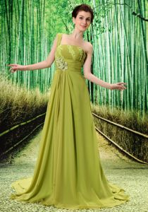 One Shoulder Appliques Olive Green Homecoming Dresses for Prom