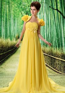Yellow Empire Strapless Brush Train Party Dress for Homecoming