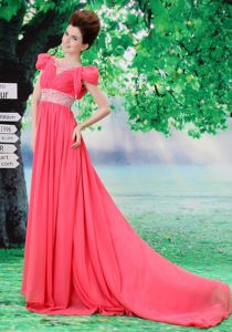 Cap Sleeves Coral Red Homecoming Dresses with Beading Belt Sweep Train