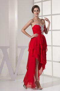 Beading Sweetheart High Low Red Evening Homecoming Dress with Ruffled Layers
