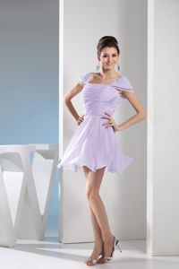 Square Mini-length Lilac Homecoming Cocktail Dresses with Cap Sleeves