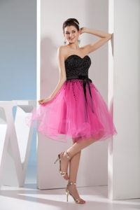 Hot Pink and Black Sweetheart Beading Homecoming Cocktail Dress