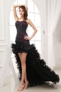 Black High-low Sweetheart Homecoming Dress with Beading and Ruffles