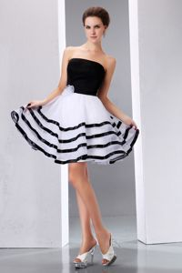 Black and White Junior Homecoming Dresses Strapless Knee-length