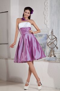 Lavender and White Strapless Knee-length Cute Homecoming Dresses