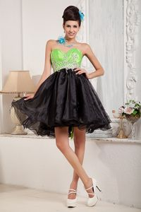 Appliques Sweetheart Short Homecoming Dress in Black and Spring Green