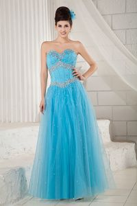 A-line Aqua Blue Homecoming Dress Sweetheart Beading Floor-length