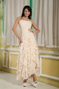 Strapless Ankle-length Champagne Homecoming Dresses with Ruffles