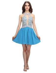 Most Popular Scoop Sleeveless Mini Length Beading Zipper Homecoming Gowns with Baby Blue