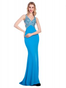 Sleeveless Silk Like Satin With Train Clasp Handle Junior Homecoming Dress in Baby Blue with Beading