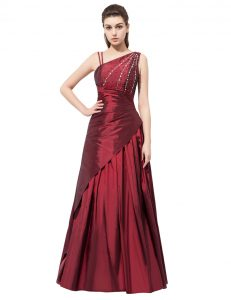 Superior Asymmetric Sleeveless Elastic Woven Satin Junior Homecoming Dress Beading and Bowknot Side Zipper