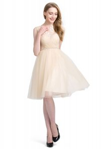 Knee Length Clasp Handle Homecoming Dress Champagne for Prom and Party with Beading and Lace