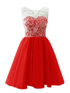 Stylish Red Chiffon Clasp Handle Scoop Sleeveless Mini Length Homecoming Gowns Lace