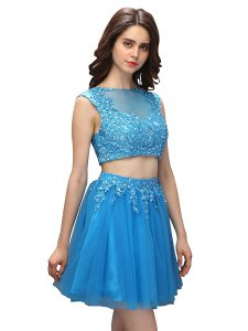 Elegant Sleeveless Mini Length Beading and Appliques Zipper Homecoming Party Dress with Baby Blue