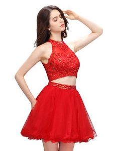 Coral Red Junior Homecoming Dress Prom and Party with Beading High-neck Sleeveless Zipper
