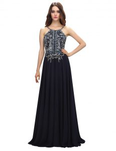 Free and Easy Sleeveless Chiffon With Brush Train Zipper Homecoming Dress Online in Black with Beading