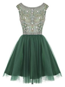 Peacock Green A-line Tulle Scoop Sleeveless Beading and Appliques Mini Length Zipper Homecoming Party Dress
