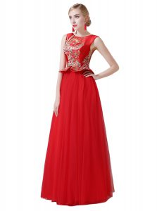 Sweet Scoop Red Sleeveless Floor Length Beading and Appliques Zipper Homecoming Party Dress