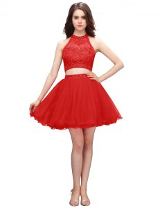 Modest Coral Red Junior Homecoming Dress Prom and Party with Beading High-neck Sleeveless Zipper